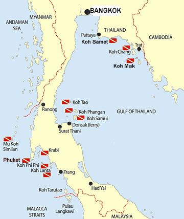 mapa de las islas de tailandia