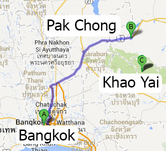 Mapa para ir a Khao Yai
